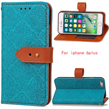 купить For Pu leather phone case for Apple iphone 6 Plus / 6S Plus (5.5) Flip Wallet  cover Kickstand coque with 2 card holder blue дешево