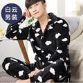Warm Men Flannel Pajamas Set Coral Fleece Man Plus Size Sleepwear Pajamas Homewear Nighties Plaid Stripped Men Sleep Lounge 269