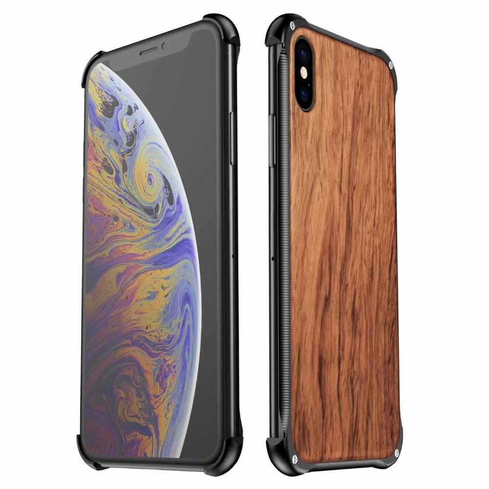 For iPhone XS Max Cover UYFRATE Slim Metal Bumper Hard Wood Wooden Case Funda For iPhone XS Max XS X 8 8 Plus 7 7 Plus