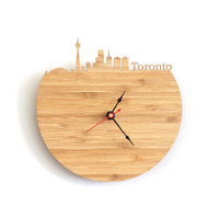 Advanced 30cm Art Natural Wood Wall Clock Map Design Canada Toronto City Silhouette Geometric Shape Silently