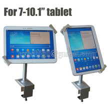 Lockable tablet security stand metalli Ipad lock display case flexible holder kiosk desktop anti theft clamp for 7-10.1″ tablet