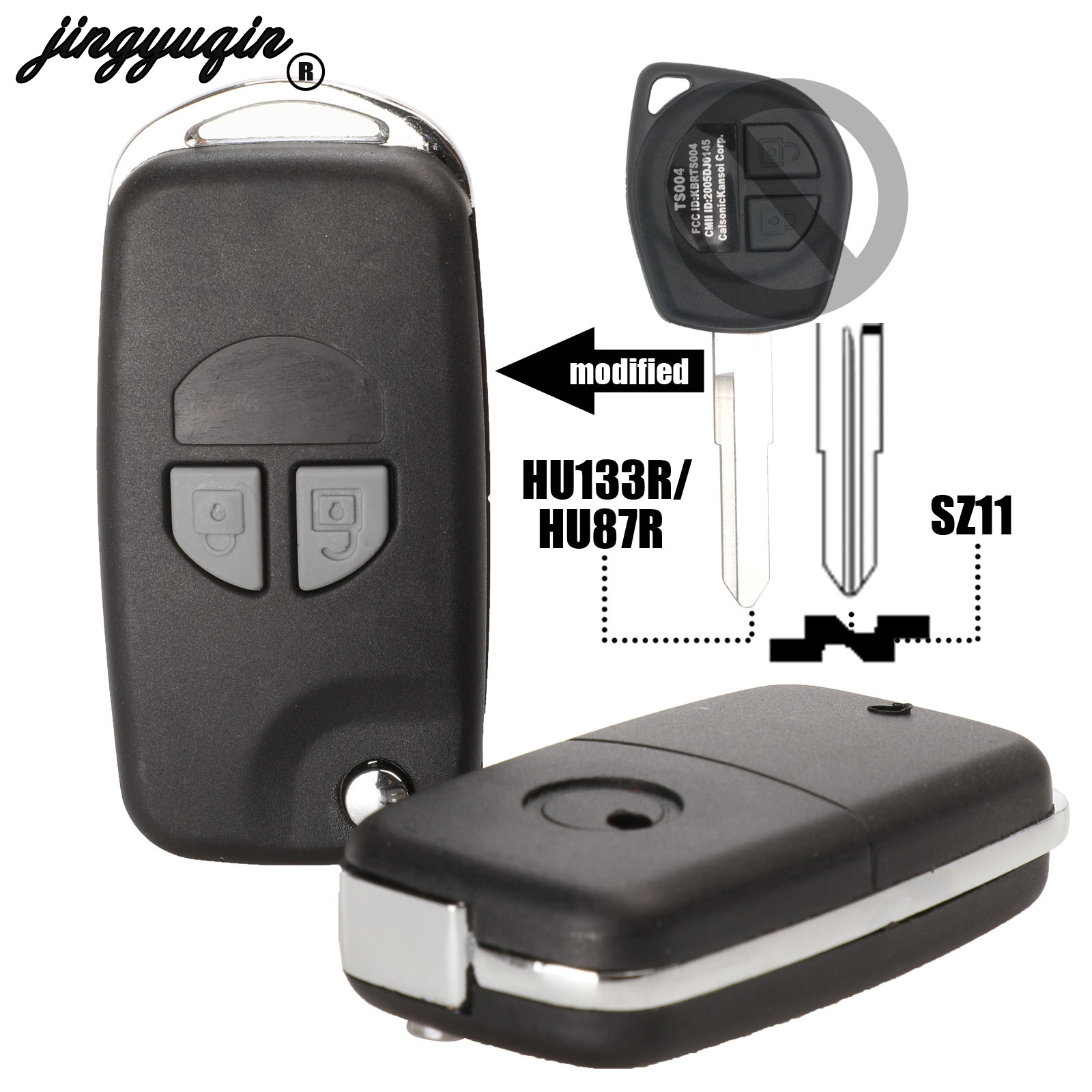Jingyuqin Modified Flip Folding Remote Key Case Shell Fit For SUZUKI SX4 Swift Grand Vitara Ignis Jimny Splash Wagon R BALENO