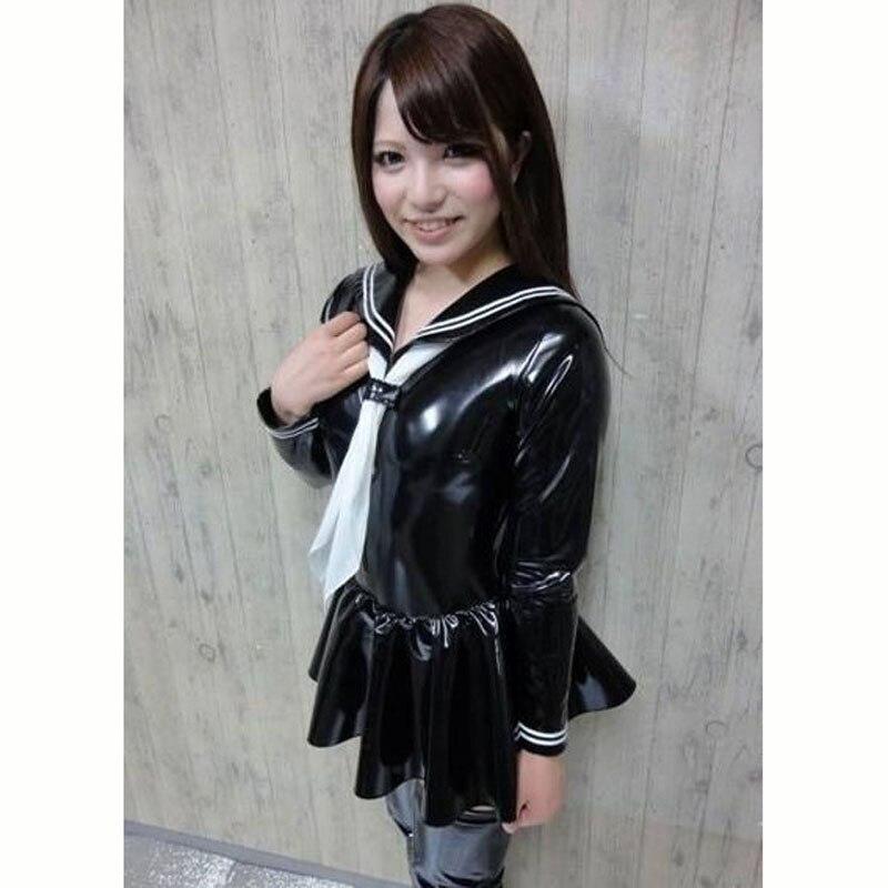 S-XXXL grande taille PVC col marin à manches longues robe plissée femmes Cosplay école uniforme robes Kawaii mignon brillant robe Vestido