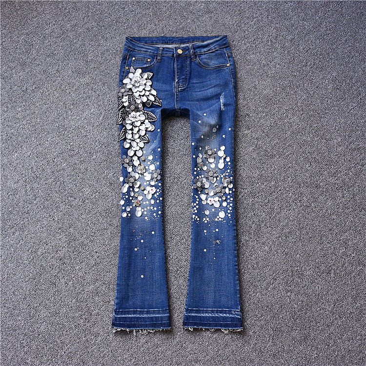 Brand fashion women's high-end luxury diamond sequins wild embroidery flowers denim jeans trousers pants wild flowers