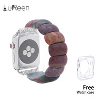 LuReen 2019 New Natural Stone Watchband Women Colorful Elastic Watch Bands iWatch Apple 38mm/42mm Watch Strap Replacement Band