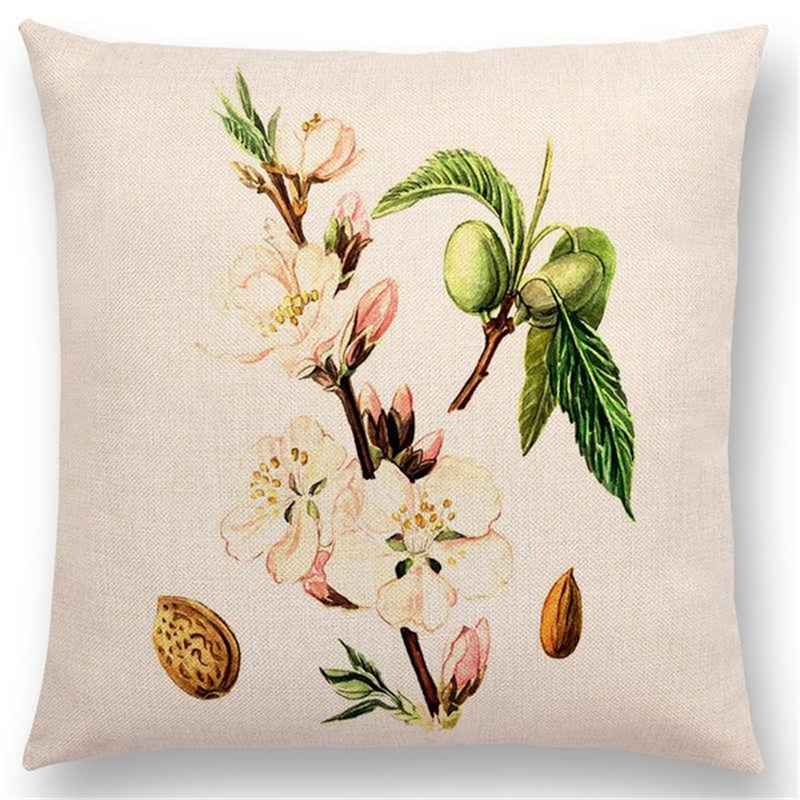 Watercolor Plant Animal Cushion Cover Lovely Bird Flower Rose Raspberry Lemon Dill Clove Home Decoration Sofa Pillowcase in Cushion Cover from Home Garden