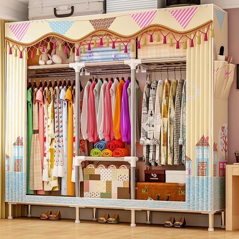 3-layer 7-grid Wardrobe 25MM Bold Round Tube Cloth Wardrobe Peach Skin Velvet Dust-proof Wardrobe Storage Cabinet Home Furniture стоимость