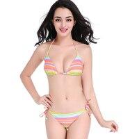 Nieuwe Aankomst Bikini Regenboog strepen bikini vrouwen Eenvoudige Model Badpak Halter Top Strand Badpakken Lage Taille Sexy Badmode