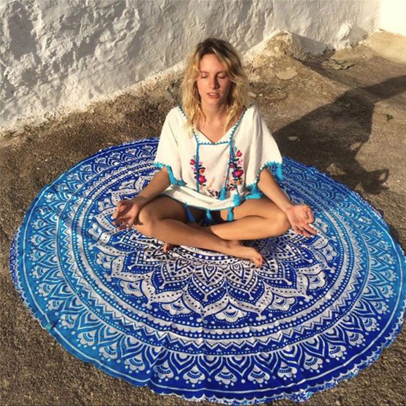 Round Yoga Blanket Polyester Lotus Flowers Mat Breathable Mandala Wall Hanging Decor Art Picnic Beach Towel Blankets sunshine grove wall blanket hanging tapestry