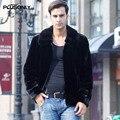 3XL Más Tamaño Masculino Faux Fur Coat Hombres Ocasionales Adelgazan Caliente Grueso Cuello de Piel Sintética Chaquetas de Manga Larga Negro AYR11