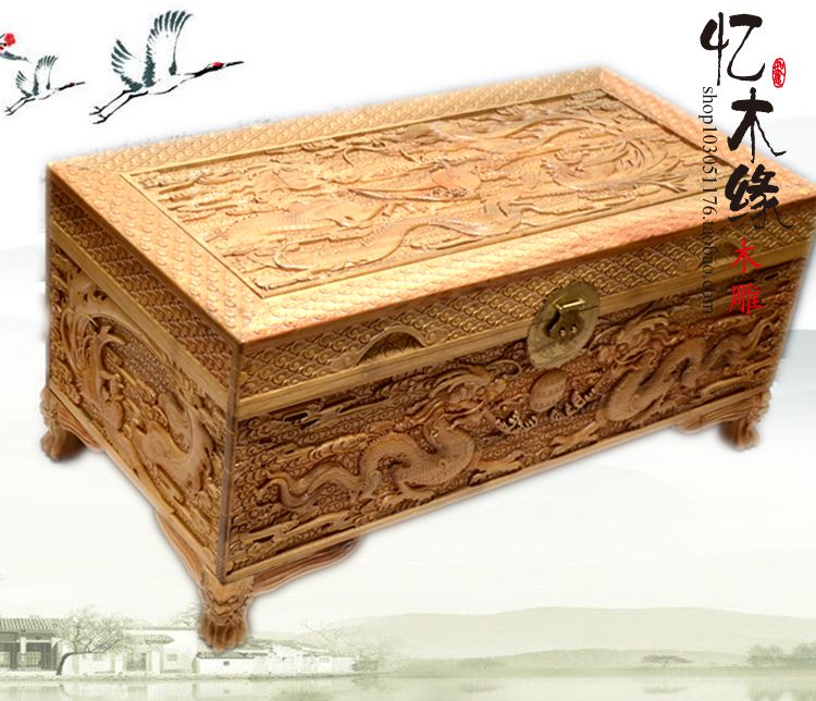 Camphor wood carved antique wood box suitcase box gift box Ssangyong marriage dowry box painting collection box camphor wood furniture carved wooden suitcase special offer and marriage dowry box storage box box manufacturers selling
