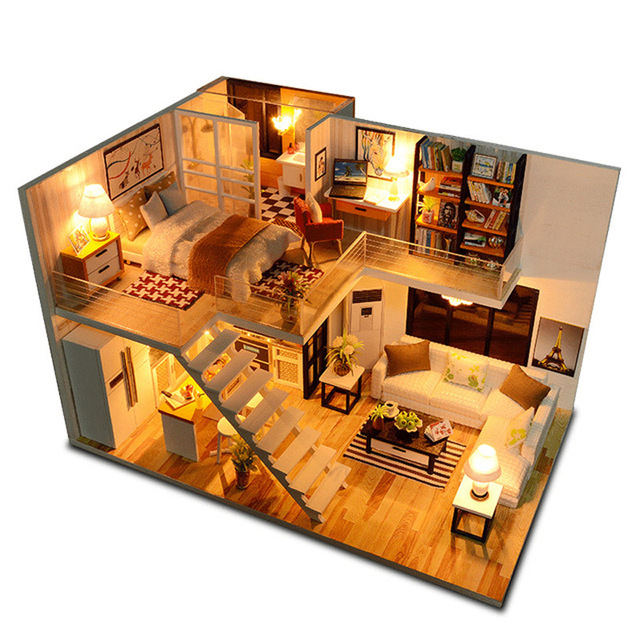 New Doll House Toy Miniature Wooden Doll House Loft With: DIY Doll House Miniature Dollhouse Loft Model With