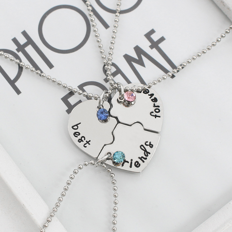 3Pcs Set Letters Best Friends Forever Friendship Necklace Undertale 3 Colors Rhinestone BFF Friendship Necklaces Pendants in Pendants from Jewelry Accessories