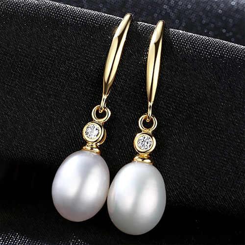 Joyas de perlas chapadas en oro de 18 quilates 8-9mm pendientes de perlas naturales de agua dulce con pendientes colgantes de plata pura S925