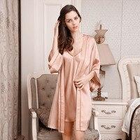 Новое поступление летние сексуальные платья стильные женские две штуки шелковые пижамы Халаты ночные рубашки женские 100% шелк тутового Шел