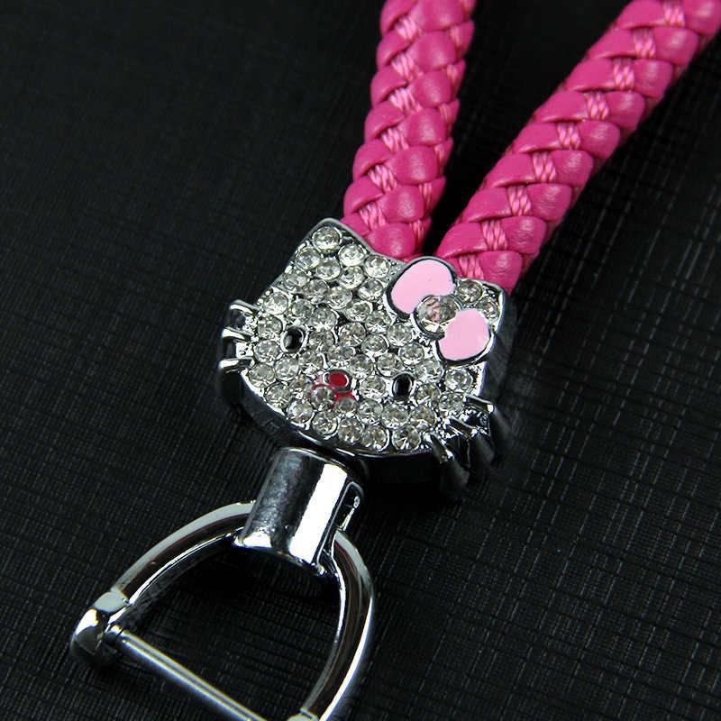 Corda De Pulso de Couro bonito KT Sleutelhanger Cadeia Strass Ameixa Flor Olá Kitty Keychain Chave Anel Chave Do Carro Mulheres Charme Pingente