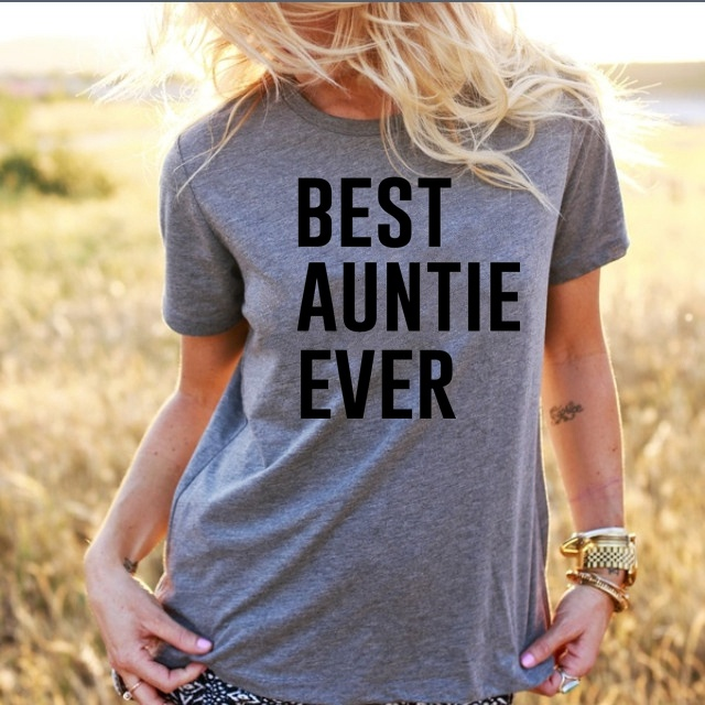 2018 BEST AUNTIE EVER Womens Letter Print T-Shirt Casual Cotton tops slogan fashion tees harajuku grunge aesthetic girl tshirt