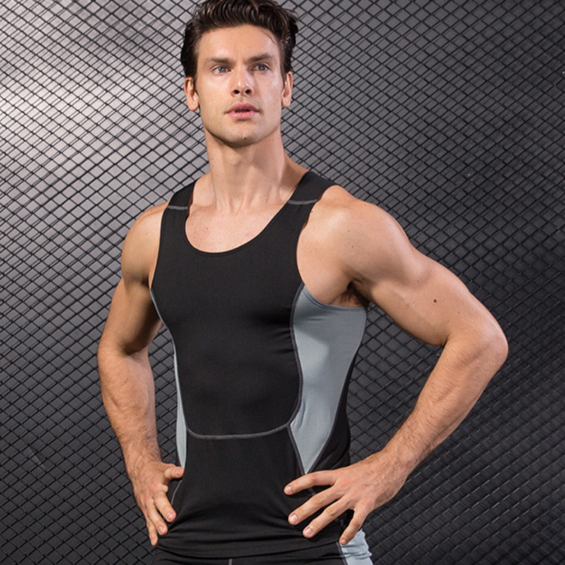 Men's Elastic Athletic Sleeveless Tops Quick Dry Fitness Training Sports Vest