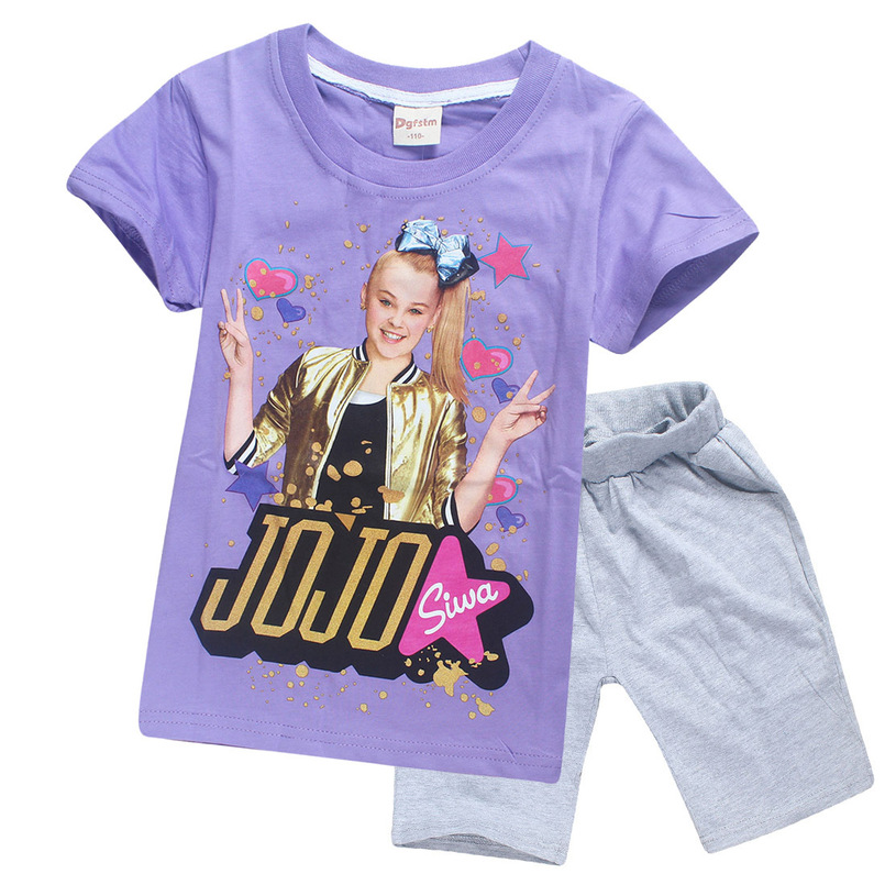 JOJO Siwa Girls Birthday Present Cotton Breathable Children Sky Dolls T Shirt Short Sleeve Summer Top Shorts Homewear In Clothing Sets From Mother