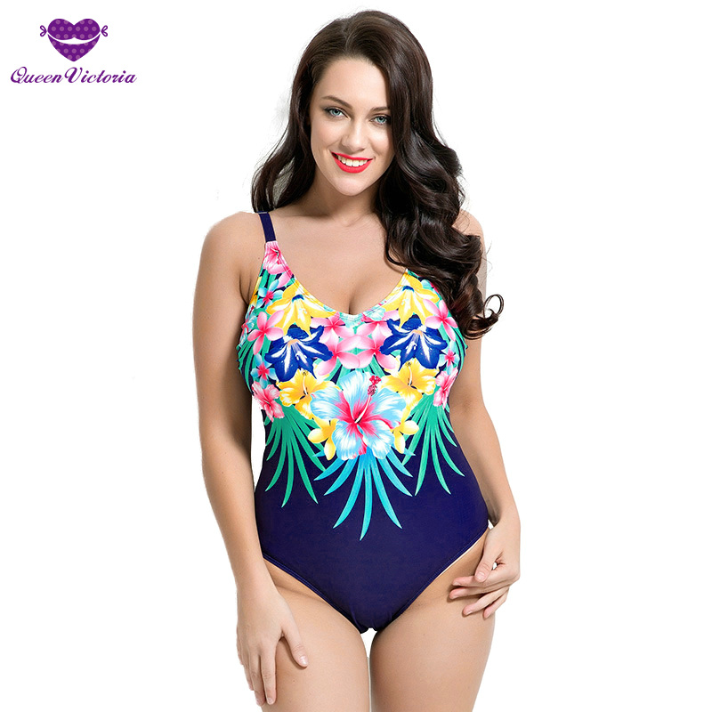 New Woman Fit Sexy 50s Style One Pieces Bathing Suit Swimwear Plus Size Cup 80DE Shoulder