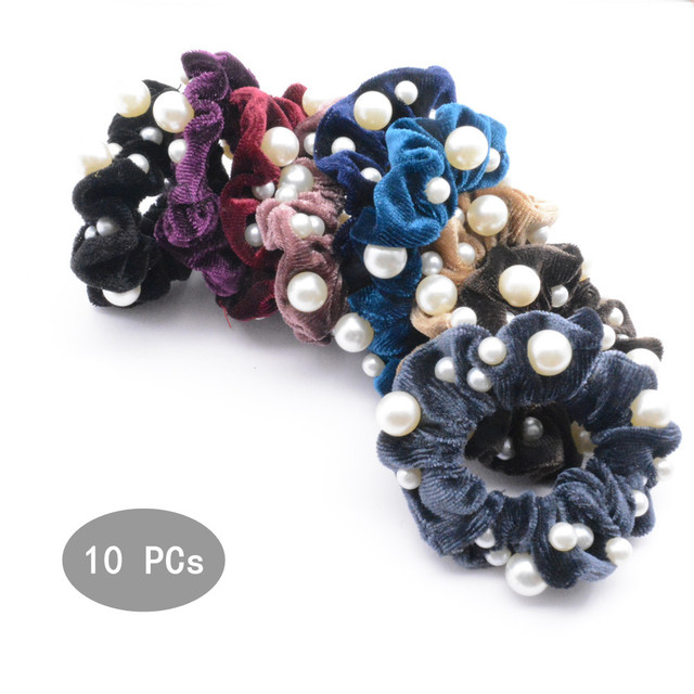 10 Pcs Lot Multi-Pearl Velvet Scrunchies Small Hair ties For Women Elastic  Hair Ropes Fashion Hair Accesories PT133 74f507b1111