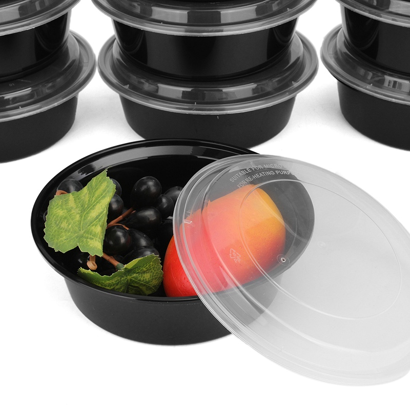 NEW!!Plastic Lunchbox Set 10Pcs Food Storage Box Case Lids 900ml Round Meal Prep Containers Home Kitchen Office Lunchbox Case