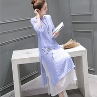 New Fashion 2017 Summer Arts Style Womens 3 4 Sleeve Long Dress Casual Floral Printing Cotton