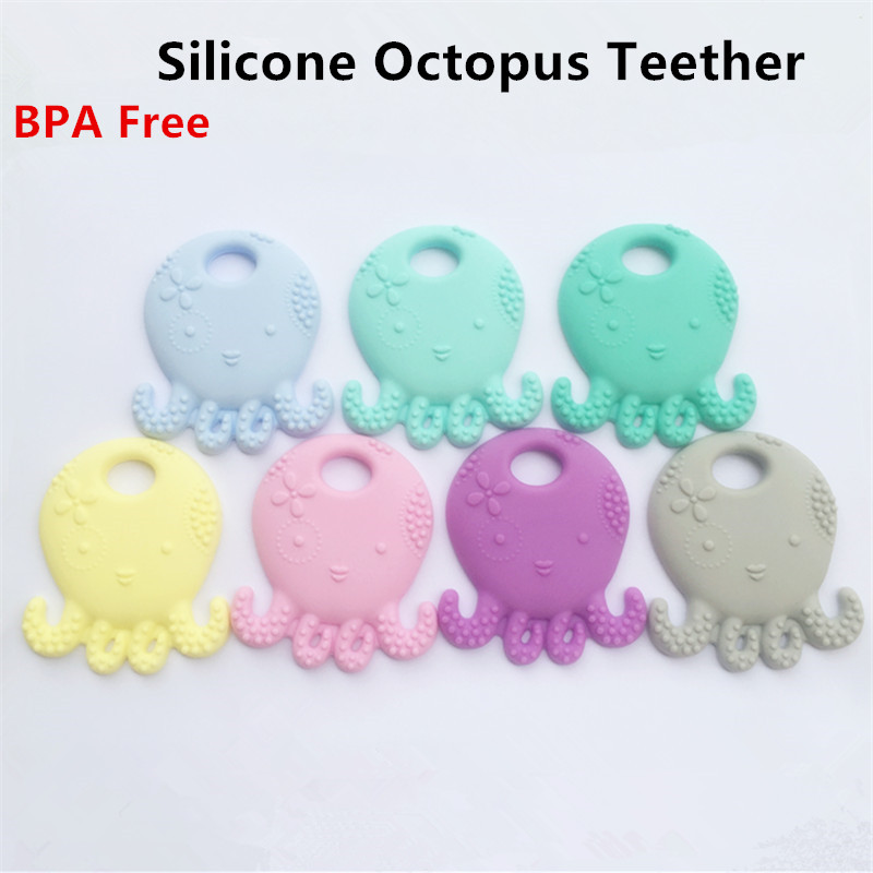 5PCS BPA Free Safe and Natual Silicone Octopus Teething Chewable Pendant Nursing Necklace Baby Pacifier Dummy Teether