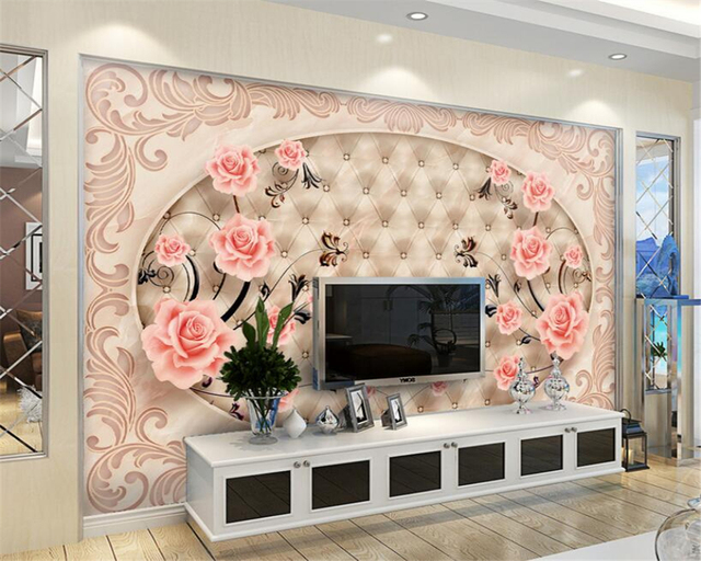 Beibehang 3D Wallpaper Tile Parquet Marble Relief TV Background Wall ...