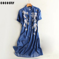 2017 New Fashion Spring Casual Denim Dresses Women Short Sleeve Single Breasted Vintage Floral Embroidery Jeans Dress Vestidos