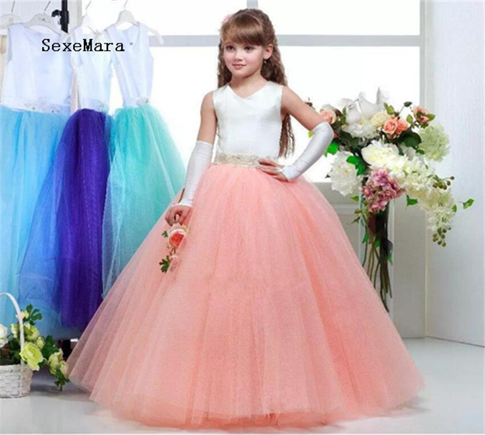 2019 New Pink Flower Girl Dresses with Beaded Sash Junior Pageant Dress Girls Birthday Party Dress Ball Gown Custom Made maison jules new junior s medium m pink dotted pleated contrast knit dress $79