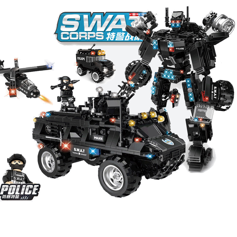 677pcs Children s building blocks toy Compatible city SWAT team 2in1 Black Dragon riot armored vehicle
