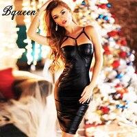 HEGO New Fashion PU Spaghetti Strap Sexy Club Dresses 2016 H1836