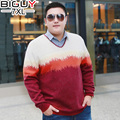 BIG GUY Plus Size 5XL 6XL 7XL Pull Homme Hiver 2016 V Neck Pullover Men Casual Baggy Male Sweater Red Blue 1403 PZ3