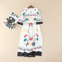 Europe style beaded three quarter sleeve dress 2017 Spring Runway musical instrument printing dress Chic Girls elegant dress