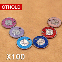 100 pcs /lot Colourful Pet Dog Cat face Circular Shape Personalized Animal Pattern Anti Lost Custom Name Phone Tag Accessories