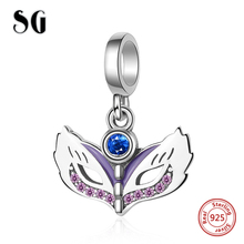 SG personalized Original pandora Charms Bracelet 925 Sterling Silver Beads cz Masquerade mask fashion Jewelry making for Gifts