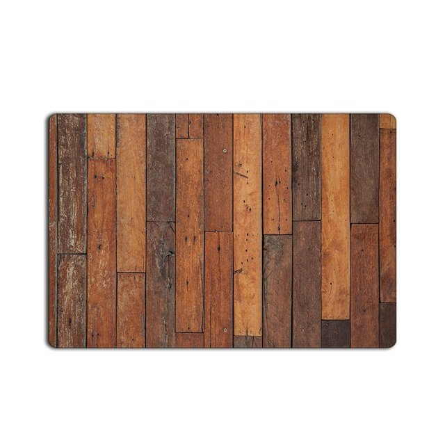 Vintage Vertical Stripes Wood Pattern Print Stain Resistant Color Custom Doormat Machine Washable Home Kitchen Door