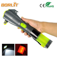 BORUIT Outdoor Emergency Self Defense Safety Hammer Car Tool LED Torch Powerful Defensive Rechargeable Multifunction Flashlight