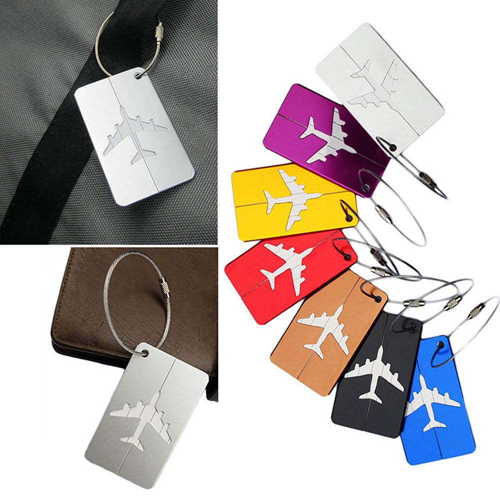 Hot Sale luggage tag Airplane Square Shape ID Suitcase Identity Address Name Labels travel accessories Luggage Board image