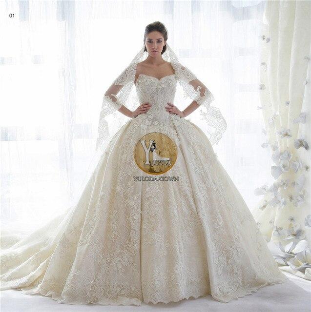 2015 Ball Gown Wedding Dresses Sweetheart Royal Length Train Natural ...