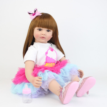 60cm Silicone Reborn Baby Doll Toys For Girl Exquisite Vinyl Princess Toddler Alive Bebe Babies Fashion Child Birthday Gift