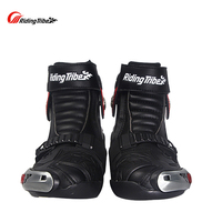 Riding Tribe Men Motorcycle Riding Boots Motorbike Racing Leather Waterproof Winterproof Anti skid Wear resistant Shoes A009