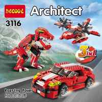 DECOOL City Architect 3 in 1 Creator Roaring Power Building Blocks Bricks Model Kids Toys Marvel Compatible Legoings