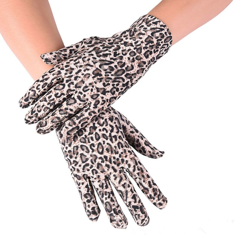 Leopard Print Party Gloves Women High Quality Mittens Sexy Dressy Full Finger Gloves