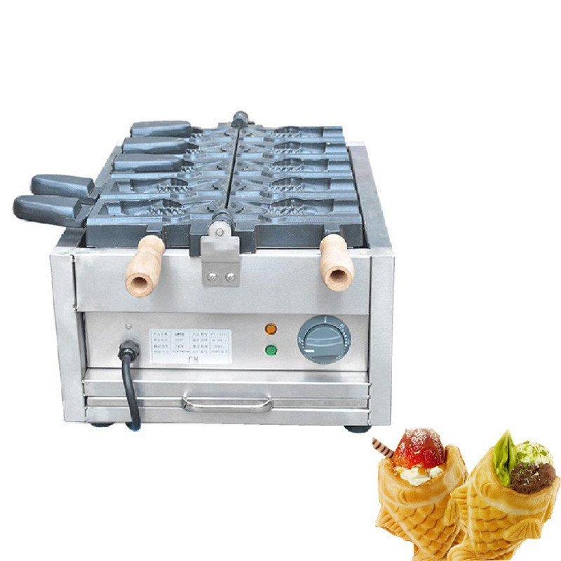 BEIJAMEI 1101C Commercial 110v 220v Ice Cream Big Mouth Fish Egg Waffle Taiyaki Maker Ice Cream Cone Taiyaki Waffle Maker 110v 220v 4pcs commercial electric non stick korean ice cream deep mouth taiyaki fish waffle maker machine for ice cream sk