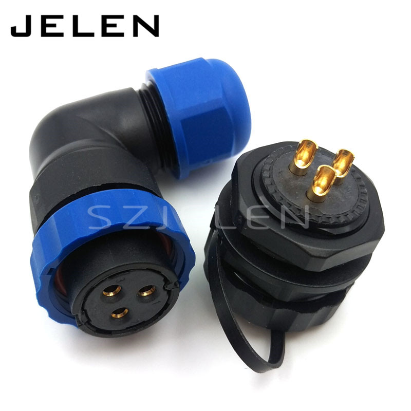 SD20TA-ZM, 3 pin 90 degree elbow waterproof connector ,IP67, 3-pin female plug, 2-pin male socket, LED outdoor wire connectors