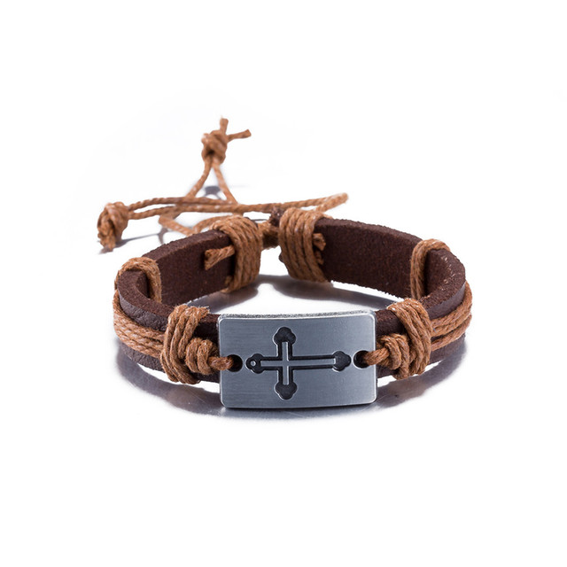 2017 Hot Leather Bracelet Cross Men Jewelry Retro Cool Neutral Style Braided Buckle Can Adjust Top