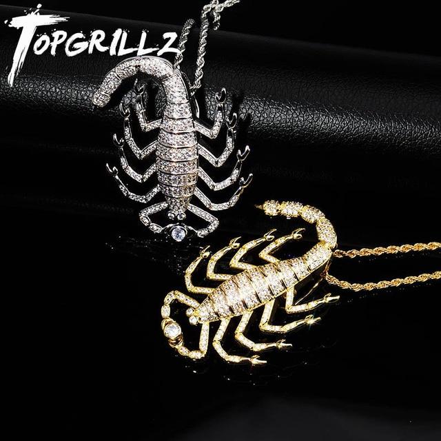 TOPGRILLZ Animal Scorpion Hip Hop pendentif avec chaîne de Tennis or argent couleur Bling cubique Zircon hommes collier bijoux pour cadeau