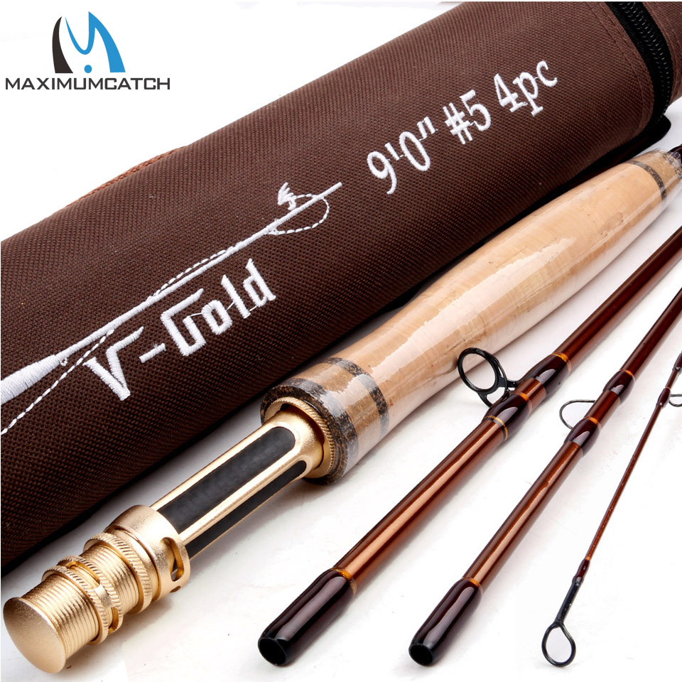 Maximumcatch V-GOLD 40T SK Carbon 9FT 4-8WT 4SEC Fast Action Fly Fishing Rod With a Aluminium Tube Fly Rod maximumcatch fly fishing rod 9ft 5wt 4pcs half well fast action with aluminium tube fly rod